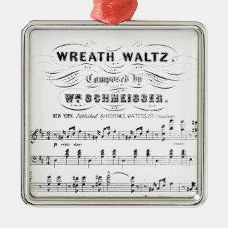 Bastones retros de las notas de la partitura (vals adorno cuadrado plateado