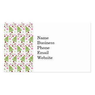 Bastones rosados y verdes de la diversión del árbo tarjeta de visita
