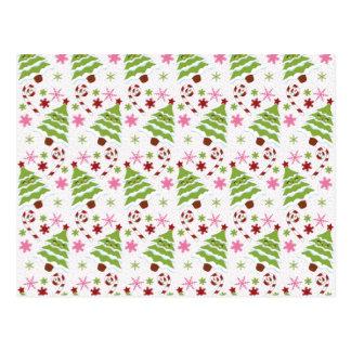 Bastones rosados y verdes de la diversión del árbo tarjetas postales