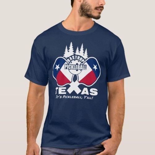 Bastrop Pickleball Texas dark shirts T_Shirt