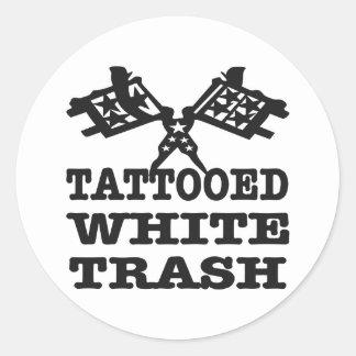 Basura blanca tatuada pegatina redonda