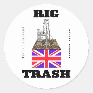 Basura británica del aparejo, basura del campo pegatina redonda