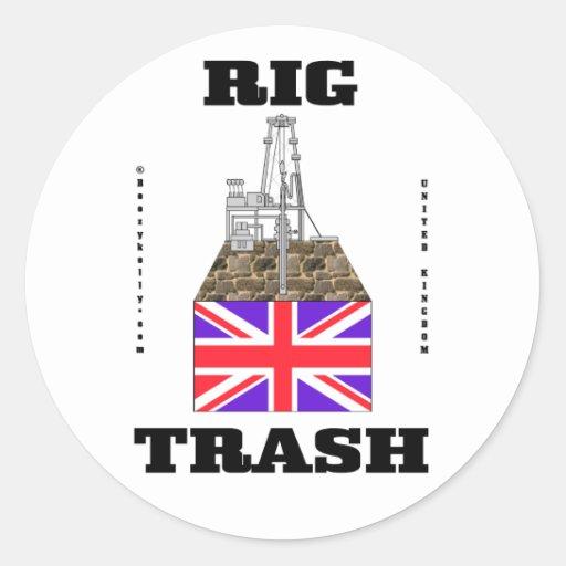 Basura británica del aparejo, basura del campo pegatinas redondas