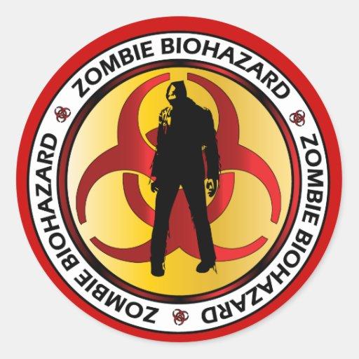 Basura del Biohazard del zombi Pegatina Redonda