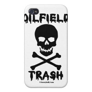 Basura del campo petrolífero cráneo y bandera pir iPhone 4 carcasa