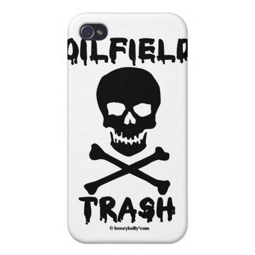 Basura del campo petrolífero, cráneo y bandera pir iPhone 4 carcasa