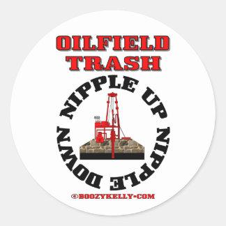 Basura del campo petrolífero, entrerrosca para etiquetas redondas