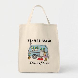 basura del parque de caravanas con la clase bolsa tela para la compra