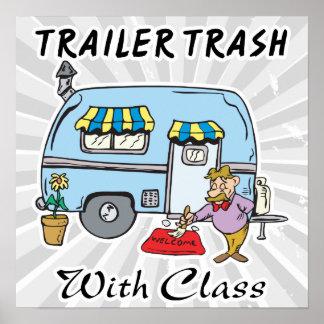 basura del parque de caravanas con la clase póster