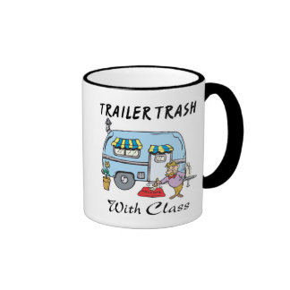basura del parque de caravanas con la clase taza