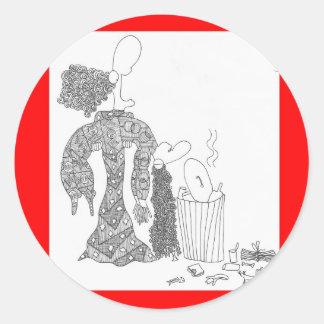 basura pegatina redonda
