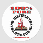 Basura pura del campo petrolífero del 100%, pegatina redonda