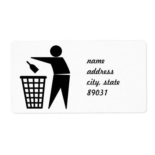 Basura que lanza lejos (botella) etiquetas de envío