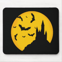 Bat and month and the Dracula castle Mouse Pad