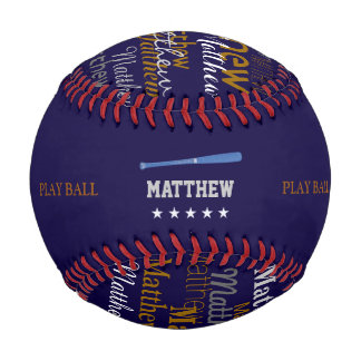bat and play ball personalized baseball