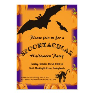Bat and Pumpkins Halloween Invitation