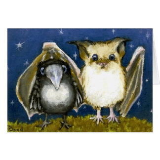 Bat and raven greeting cards
