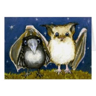 Bat and raven greeting card
