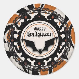 Bat and Wacky Halloween Print Classic Round Sticker