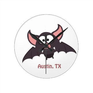 Bat - Austin, Texas Round Clock