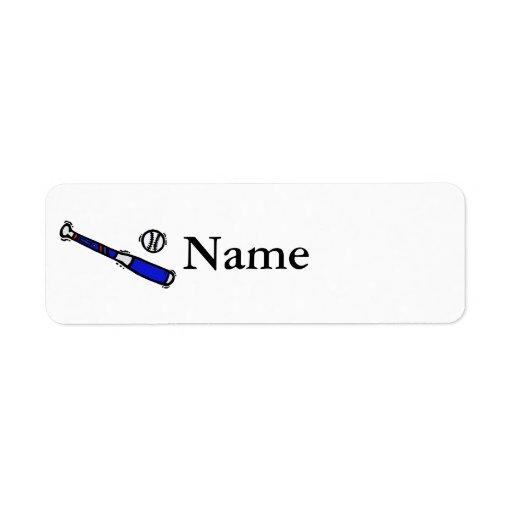 bat & ball custom return address labels