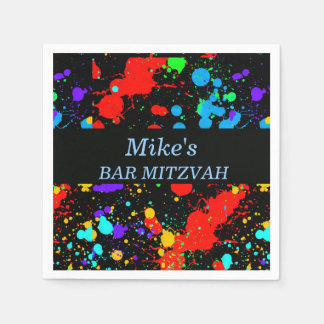 Bat/Bar Mitzvah Paint Splatter Paper Napkins
