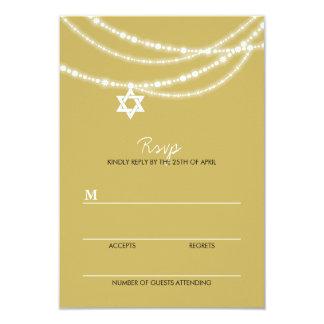 "Bat Bar Mitzvah Sparkles Star Of David Invite RSVP 3.5"" X 5"" Invitation Card"