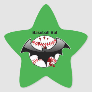 Bat...Baseball...Baseball Bat Star Sticker