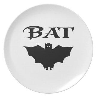 Bat Black And White Typography Halloween Plates