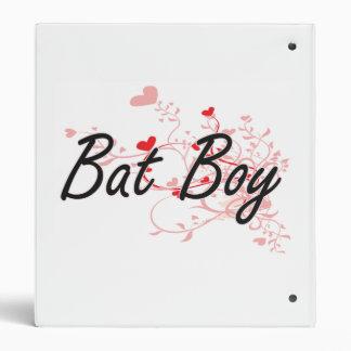 Bat Boy Artistic Job Design with Hearts 3 Ring Binder
