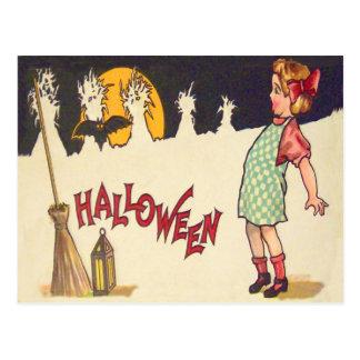 Bat Broom Lantern Moon Cornstalk Girl Postcard