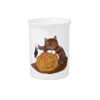 Bat, Carved Pumpkin and a Kitten Beverage Pitcher