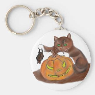 Bat, Carved Pumpkin and a Kitten Keychain