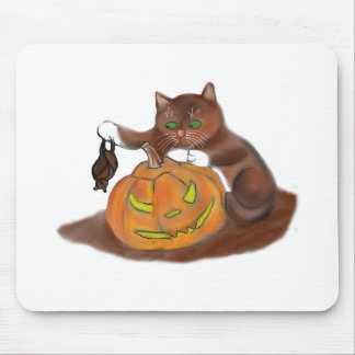 Bat, Carved Pumpkin and a Kitten Mouse Pad