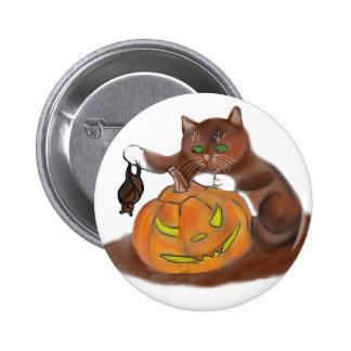 Bat, Carved Pumpkin and a Kitten Pinback Button
