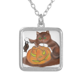Bat, Carved Pumpkin and a Kitten Silver Plated Necklace