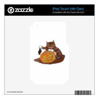 Bat, Carved Pumpkin and a Kitten Skin For iPod Touch 4G