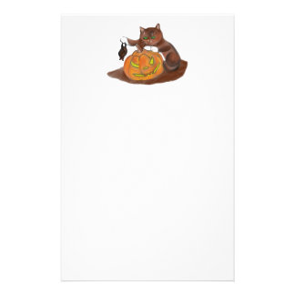 Bat, Carved Pumpkin and a Kitten Stationery