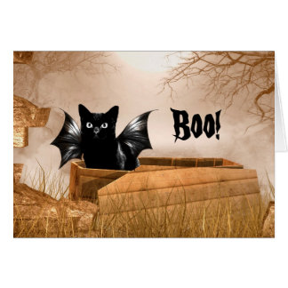 Bat cat Halloween boo Card