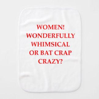 bat crap crazy baby burp cloth