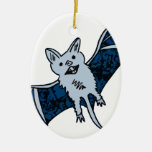 Bat Creature Double-Sided Oval Ceramic Christmas Ornament