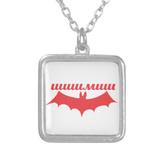bat cyrillic silver plated necklace