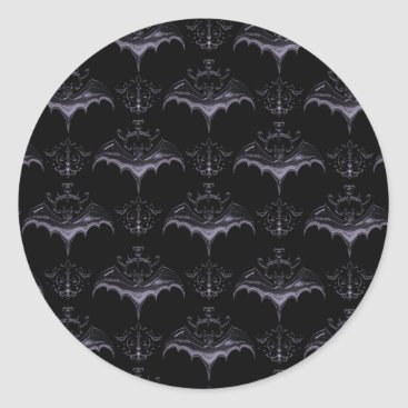 Halloween Themed Bat Damask Stickers - Pale French Lilac