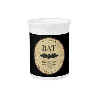 Bat Droppings Vintage Halloween Label Beverage Pitcher