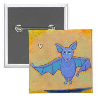 Bat floating flying heart fun unique original art pinback button
