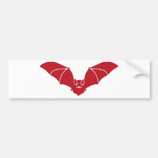 Bat flying red bumper sticker