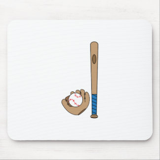 BAT GLOVE AND BALL MOUSE PAD