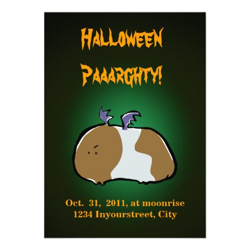 bat guinea pig customizable halloween invitation