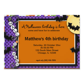"""Bat Halloween Birthday 5"""" X 7"""" Invitation Card"""