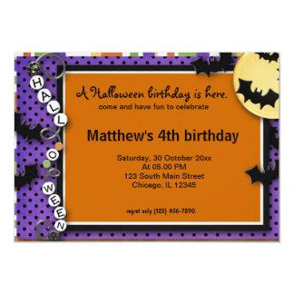 Bat Halloween Birthday 5x7 Paper Invitation Card